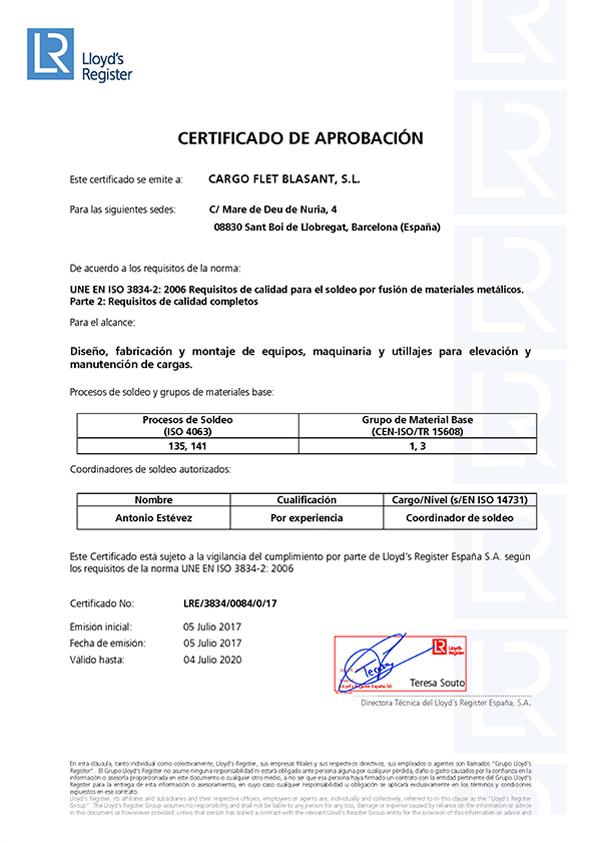 Certificados Cargo Flet Blasant ISO 3834