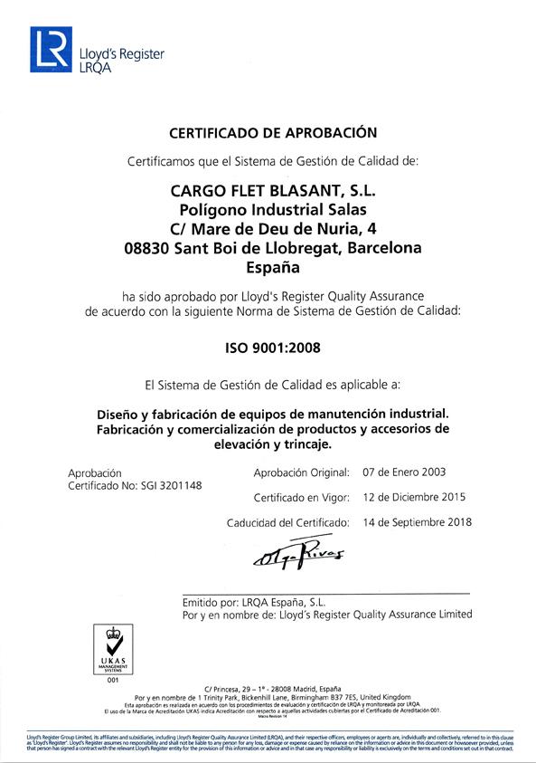 Certificados Cargo Flet Blasant ISO 2015 B