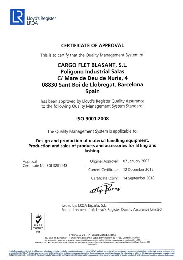 Certificados Cargo Flet Blasant ISO 2015