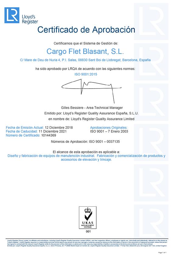 Certificado ISO 9001 Cargo Flet Blasant