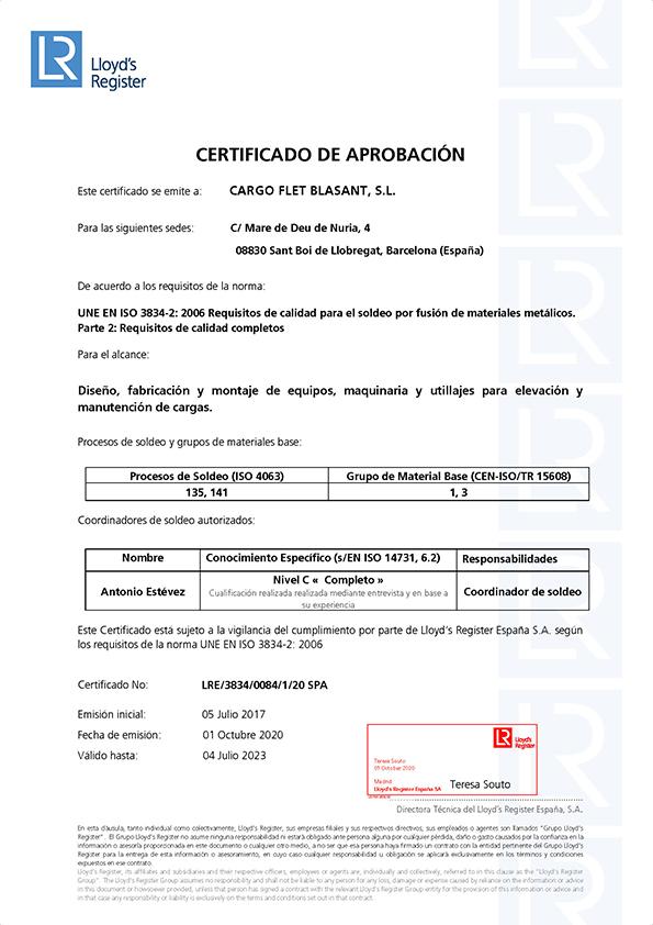 Certificados Cargo Flet Blasant Procesos de soldeo 3834